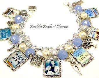 John Steinbeck Charm Bracelet Jewelry, Literary Charm Bracelet Jewelry, Book Bracelet, Literary Necklace, Literary Charm necklace