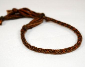 Kumihimo Bracelet Mens Jewelry Merino Soft Fiber Black Brown Tones Jewelry