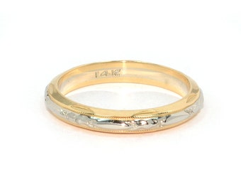 Antique Wedding Band - Antique 1920's Two-Tone 14k Yellow & White Gold Wedding Band