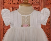 White Silk Illusion Tulle Christening Gown, Baptism, Dedication, 0 - 3 months, 0-3 months, 3-6 months, 6-9 months, 9-12 months, 12-24 months