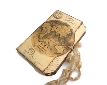 Compass Travel Journal, Old World Travel Log, Destination Wedding Guest Book, Antique World Map Memory Book, MADE TO ORDER