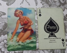 Collectible Vintage Pin Up Girl Gil Elvgren Playing Swap Card Ace of Spades Pin-Up Duratone