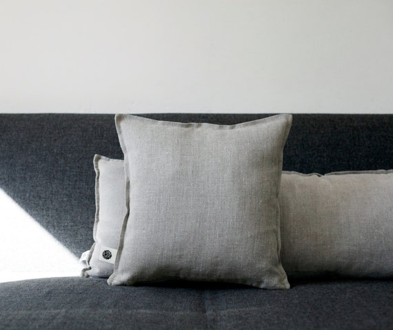 Linen pillow with flange - decorative covers - pillow case - throw pillows - shams - cushion cover custom size   0066