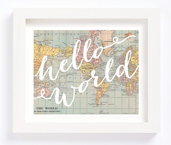 Printable Hello World Vintage World Map Kid S Room