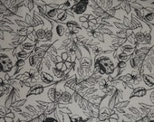 Black & White Flowers and Owls Flannel Fabric, by the half yard - Scribble, Pen, Ink, Owls, Birds, Floral Outline