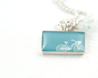 Bike Necklace • Statement Necklace • Bike Gift Personalized Resin Necklace • Gift for Her • Choose Your Colors • Bicycle Lover Gift