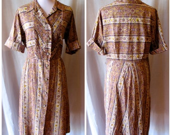 Vintage late 1940s Paisley Shirtwaist Dress - L