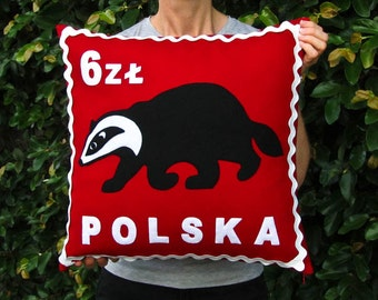Polish badger stamp cushion cover
