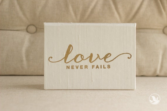 Vow Book - Love Never Fails - Wedding Vows Framed - Gold Foil Silk Folio Keepsake