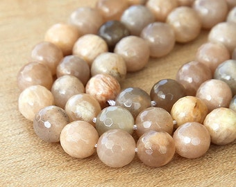 Sunstone Beads, Peach and Tan, 8mm Faceted Round - 15 inch Strand - eGF-SN001-8