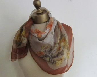vintage CHIFFON scarf,  1950s FLORAL scarf, vintage scarves, semi sheer scarf, 50s fashion, romantic headscarf, ladies scarves