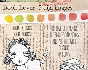 whimsical and quirky book lover digi stamp set