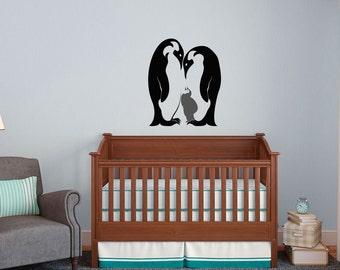 Mother and child Penguin - Vinyl Wall Art Decal Custom Stickers