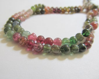10 5mm Multi Colored Tourmaline Smooth Round Beads