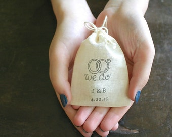 Personalized wedding ring bag.  Ring pillow alternative, ring bearer accessory, ring warming ceremony.  We Do motif with initials and date.