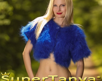 Custom made hand knitted mohair sweater bolero in royal blue by SuperTanya