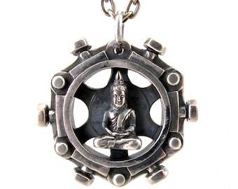 Spinning Buddha - white brass