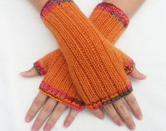 Tangerine Orange Fingerless Gloves with Rainbow Multicolor Trim