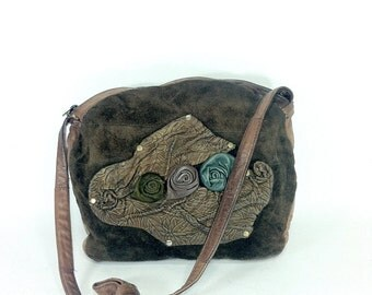 Floral Leather Bag - Brown Leather Purse with Roses - Leather Hobo - Hippie Bag - Boho Purse