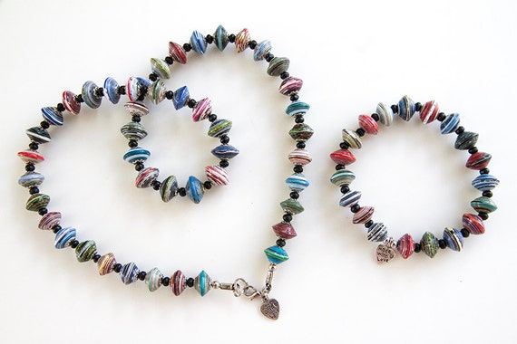 Multi colored paper bead necklace