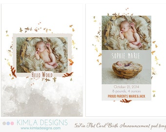 5x7in Birth Announcement Flat Card PSD Template Fall 2014 vol1