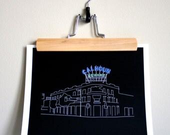 Calhoun Square Outline Print - Digital Art Print - Minneapolis