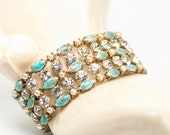 Turquoise Blue Bracelet  Veined Art Glass  Faux Pearls  Rhinestones Vintage