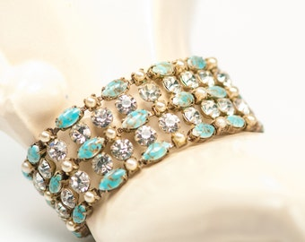 Turquoise Blue Bracelet  Veined Art Glass  Faux Pearls  Rhinestones Vintage