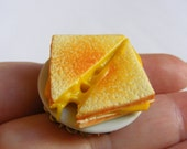 Food Jewelry Grilled Cheese Ring, Toasted Cheese Ring, Miniature Food, Cheese Toastie, Grilled Cheese Jewelry Cheese Lover Mini Food Kawaii