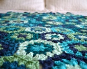 Hexagonal Granny Blanket - Blue and Mint