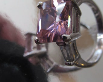 Art Deco sterling silver large pink zircon  ring  size 6.25