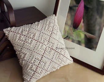"Rose Trellis Pattern 12"" Crochet Square Pillow -  READY TO SHIP - Double Sided design"