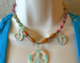 Peace 3 Times- Hemp Necklace With Rainbow Hemp, Wood Beads and 3 Peace Sign Pendants