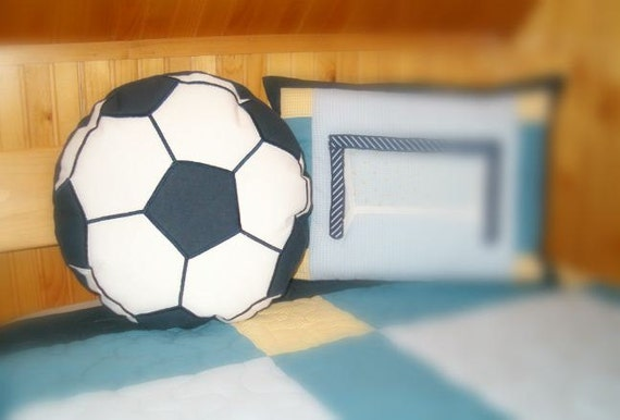 Soccer pillow, soccer ball, soccer pillowcase,  soccer bedding,  soccer decor, blue and white