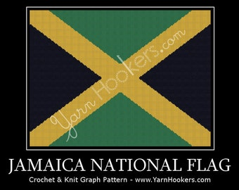 Jamaica National Flag - Afghan Crochet Graph Pattern Chart - Instant Download