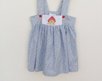 Blue cotton sundress,  for 6 to 7 year olds,  hand painted bird design, toadstool dress,  cotton print frock,  strappy beach dress