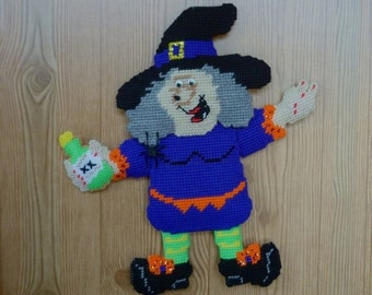 Plastic Canvas Decor Halloween Wall Hanging Door Hanging Halloween Decor Witch Wall Hanging Holiday Home Decor CLEARANCE PRICED