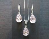 Rosaline Swarovski Crystal Earrings/ Pale Pink Crystal Earrings/Bridesmaid Earrings/Crystal Necklace/Blush Crystal Earrings/ Wedding Jewelry