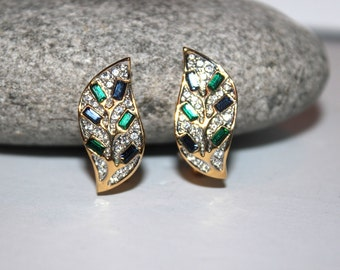 Vintage Art Deco Fifth Avenue Emerald Green Rhinestone Earrings, FAC Butler, Antique Alchemy