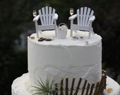 All WHITE WEDDING SET - Complete Set - Beach Theme Wedding Cake Topper - by Landscapes In Miniature