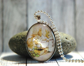 Oval Glass Pendant Necklace, 30mm x 40 mm -  Beatrix Potter - Flopsy Bunnies