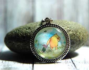"1"" Round Glass Pendant Necklace or Key Chain - Winnie the Pooh and Piglet"