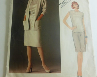 Vintage Very Easy Vogue American Designer Pattern 1147 Anne Klein Jacket Skirt and Top Misses Size 8