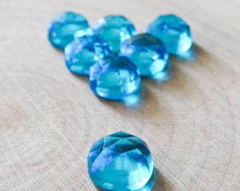 10mm Swiss blue quartz rose cut cabochon. blue rose cut cabs. round quartz gemstone blue cab