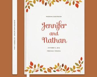 Fall Wedding Guestbook, Fall Leaves Guestbook, Custom Wedding Guestbook, Hardbound Wedding Guestbook, Watercolor Leaves, Rustic Wedding