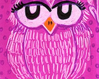 Pink Owl, Owl Art, Owl Decor, Pink Art Print, Girls Room Decor, Pink Decor, Whimsical Owl Print, Nursery Room,Pinky Owl by Paula DiLeo_22411