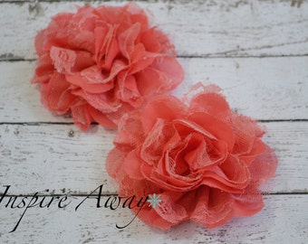 2 Large Lace mesh flowers- Coral fabric flowers, shabby chic flower, flower applique, headband supply, wholesale flowers