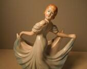 RESERVED for Renee - Vintage Dancing Lady Planter - Figurine - Skirt Holder