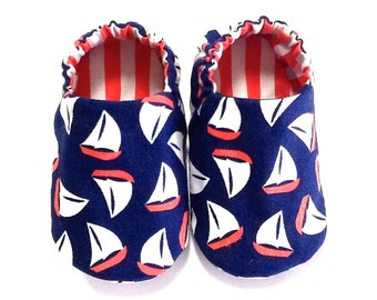 Nautical Baby Boy Shoes with Sail Boats, 0-6 mos. Baby Booties, Baby Gift