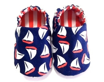 Nautical Baby Boy Shoes with Sail Boats, 0-6 mos. Baby Booties, Sailor Baby Shoes, Boy Crib Shoes, Soft Sole Shoes, Baby Boy Gift